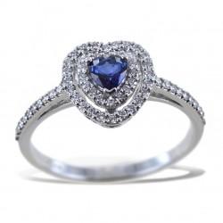 Anello con Cuore Zaffiro con doppio contorno di Diamanti 00275