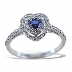 Bague avec coeur saphir avec contour double diamant 00275