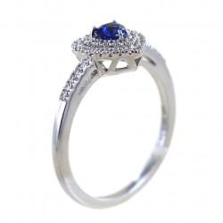 Anello con Cuore Zaffiro con doppio contorno di Diamanti 00276