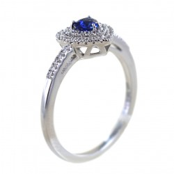 Sapphire Heart Ring with Double Diamond Contour 00276