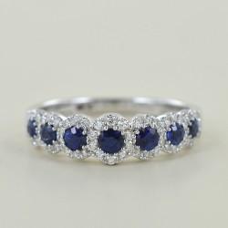 Riviera ring of Sapphires and outline of Diamonds Jeera Gioielli Raaja 00277