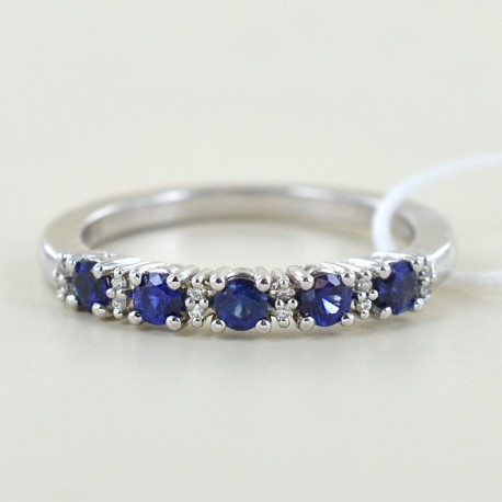 Riviera ring with sapphires and alternating diamonds 00282