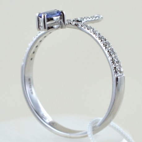 Contrast fantasy ring with Diamonds and Sapphire 00282