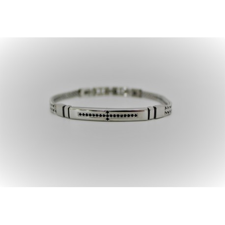 Bracelet man steel and cubic zirconia
