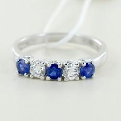 Bague Riviera avec saphirs et diamants alternés 00305