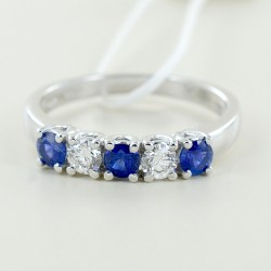 Riviera ring with sapphires and alternating diamonds 00305