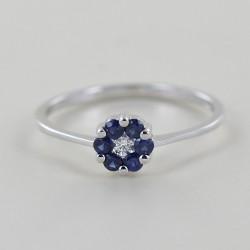 Anello con rosetta di Zaffiri e Diamante centrale Orsini Gioielli 00307