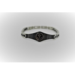 Bracelet Sakì from man of steel still with central silver and black