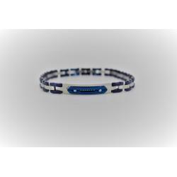 Bracelet Sakì de l'homme, en acier, argent et bleu électrique