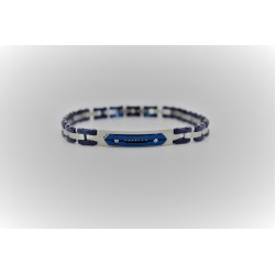 Bracelet Sakì from man in steel, silver and electric blue