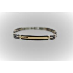 Armband Sakì herren stahl-gold und schwarz