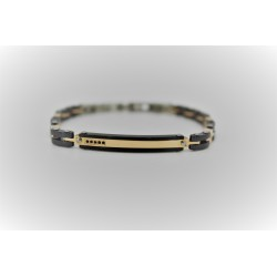 Bracelet Sakì d'homme en acier, or et noir
