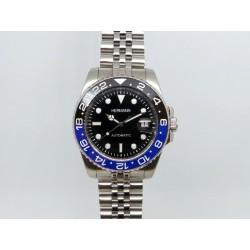 uhr, hermann stahl automatik armband junilee hülse blau und schwarz