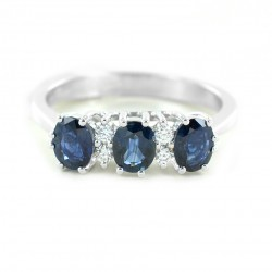 Sapphire trilogy ring with diamonds 00310
