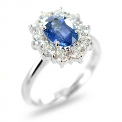 Gold and diamond ring with central KANCH Sapphire ct 1.60 00312