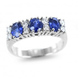 Ring with Sapphires and Diamonds alternating with band 00315