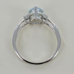 Anello Acquamarina Goccia e Diamanti modello Kinari grande 00319