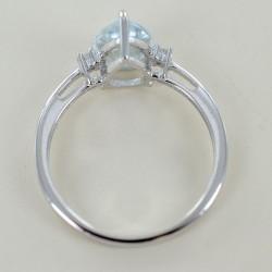 Aquamarine Drop and Diamonds ring medium Kinari model 00319