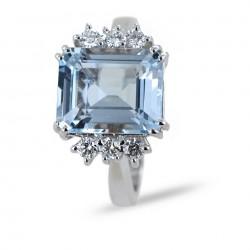 Anello Acquamarina grande 4 carati centrale e 6 Diamanti 00330