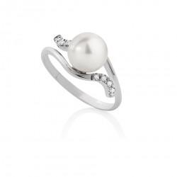 Anello con Perla Akoya 8 - 8,5 e Diamanti 00345