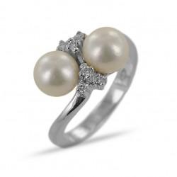 Bague avec perle d'eau douce et diamants 00352