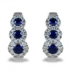 Boucles d'oreilles trilogie saphir et contour diamant 00353