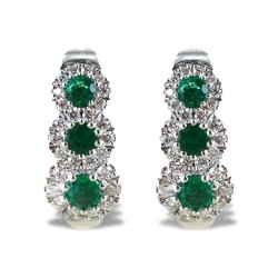 Trilogy earrings of emeralds and outline of 00354
