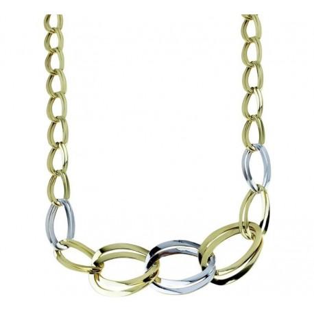 Zweifarbige Gold-Hohlglieder-Halskette für Frauen C1820BG
