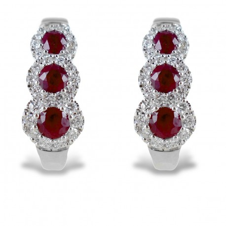 Trilogy earrings of Rubies and diamond contour 00355