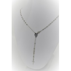 Collana a rosario pendente in oro bianco 18 kt