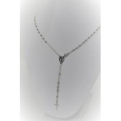 Halskette mit rosenkranz-anhänger in weißgold, 18 kt