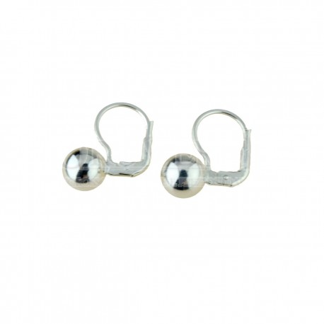 shiny sphere earrings with monachina hook in white gold O2009B