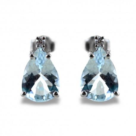 Aquamarine Drop Earrings and Diamonds model 00363