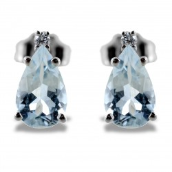 Orecchini Acquamarina Goccia e Diamanti modello 00364