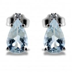 Pendants d'oreilles aigue-marine et diamants modèle 00364