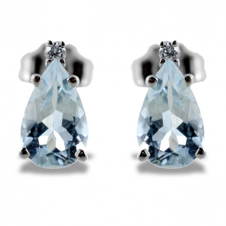 Aquamarine Drop Earrings and Diamonds model 00364