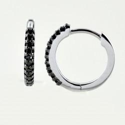 Small hoop earrings with black diamonds 00365