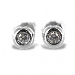 Orecchini punto luce Cipollina grande in oro bianco e diamanti ct. 0.14 G VS 00367