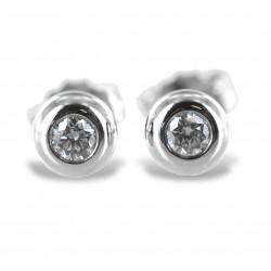 Orecchini punto luce Cipollina media in oro bianco e diamanti ct. 0.10 G VS 00369