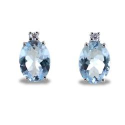 Boucles d'oreilles aigue-marine et diamant Aisha grand modèle 00370