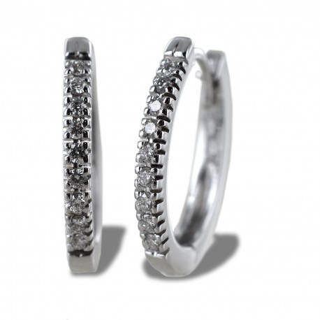 Thin oval hoop earrings with diamonds ct 0.21 color G 00373