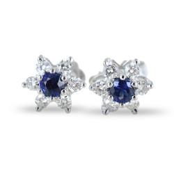 Boucles d'oreilles étoiles en or et diamants avec saphirs ct. 0,28 00376