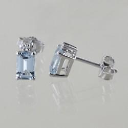 Boucles d'oreilles avec aigue-marine rectangulaire et diamants Orsini Gioielli 00377