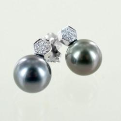 Boucles d'oreilles avec perles de Thaïlande et pavé de diamants 00378
