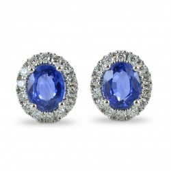 Sapphire earrings with diamond outline 00379