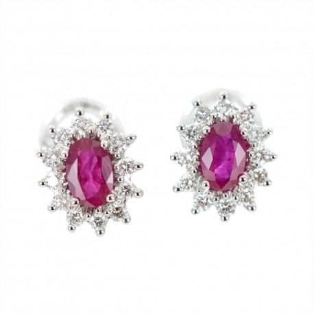 Ruby and diamond rosette earrings 00380