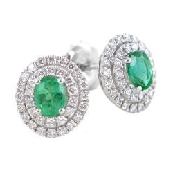 Earrings with oval emerald and double diamond outline 00381