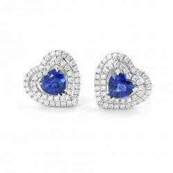 Boucles d'oreilles avec saphir taille cœur et contour double diamant 00381