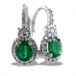 Gold pendant earrings with oval cut diamonds and emeralds 00383