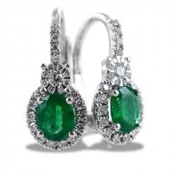 Pendants d'oreilles en or avec diamants taille ovale et émeraudes 00383